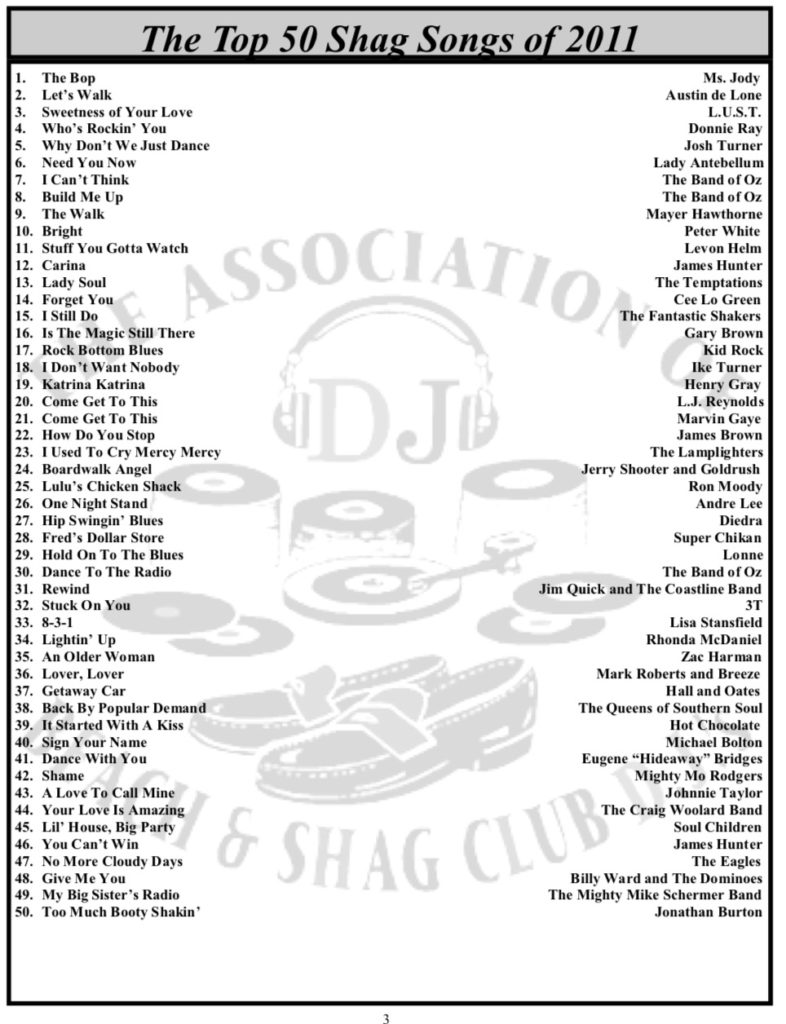 Top 50 Shag Songs | OD Shag Club – North Myrtle Beach, SC Shag Dancing